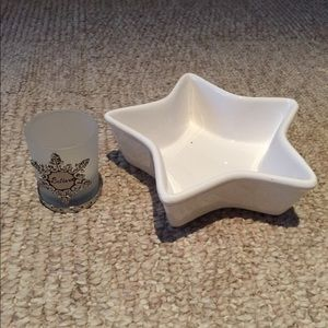 """White star candy dish and """"Believe"""" votive holder"""